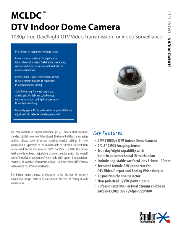 DTV Indoor Dome Specs Thumbnail