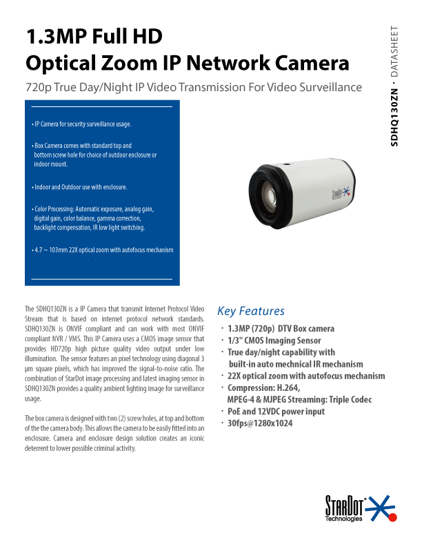 IP Optical Zoom Camera Specs Thumbnail